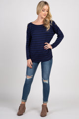 Blue Striped Button Accent Long Sleeve Maternity Top