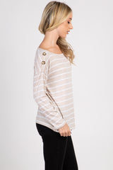 Ivory Striped Button Accent Long Sleeve Top