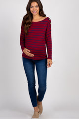 Burgundy Striped Button Accent Long Sleeve Top