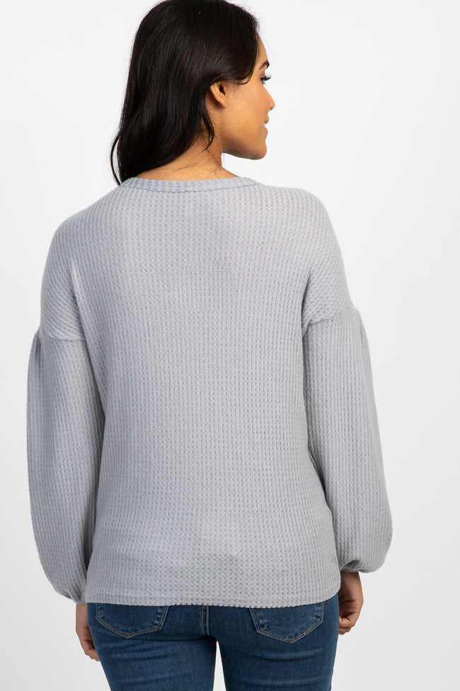Heather Grey Waffle Knit Puff Sleeve Maternity Top