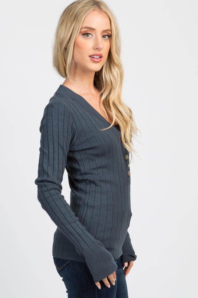 Teal Ribbed Knit Button Front Top