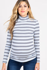 Blue White Striped Ribbed Turtle Neck Maternity Top
