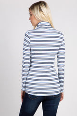 Blue White Striped Ribbed Turtle Neck Top