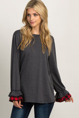 Heather Charcoal Plaid Trim Ruffle Sleeve Maternity Top