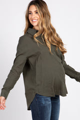 Olive Long Sleeve Button Up Maternity Top