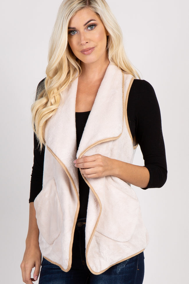 Ivory Draped Faux Fur Maternity Vest