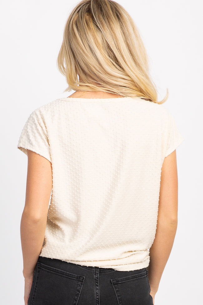 Ivory Swiss Dot Tie Front Short Dolman Sleeve Top