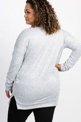 Heather Grey V-Neck Knit Long Sleeve Maternity Plus Top