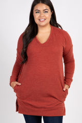 Rust V-Neck Knit Long Sleeve Plus Top