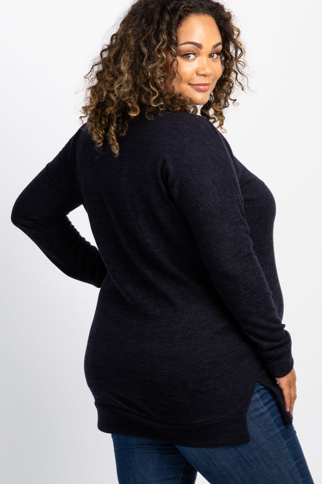 Navy Blue V-Neck Knit Long Sleeve Maternity Plus Top