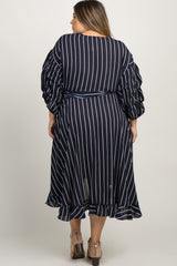 Navy Striped Ruffle Plus Wrap Dress