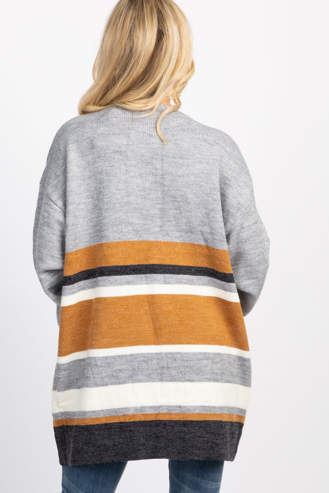 Grey Striped Cuffed Sleeve Cardigan