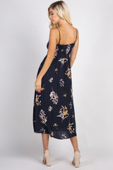 Navy Floral Polka Dot Midi Dress