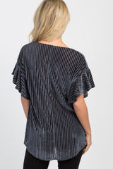 Charcoal Grey Velvet Striped Wrap Top