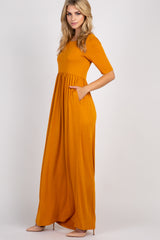 Yellow Short Sleeve Pleated Maxi Dress