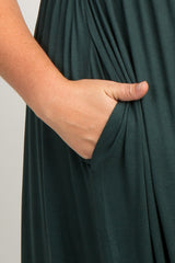 Forest Green Short Sleeve Pleated Plus Maternity Maxi Dress