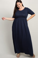 Navy Short Sleeve Pleated Plus Maxi Dress