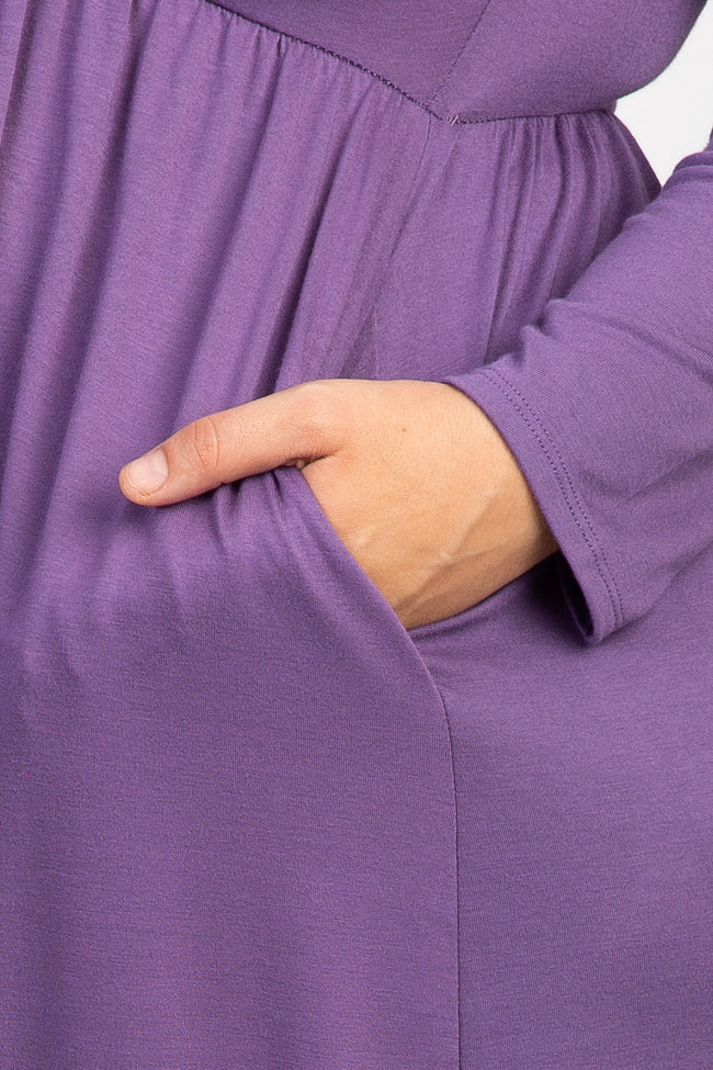 Lavender Pleated Long Sleeve Plus Maternity Maxi Dress