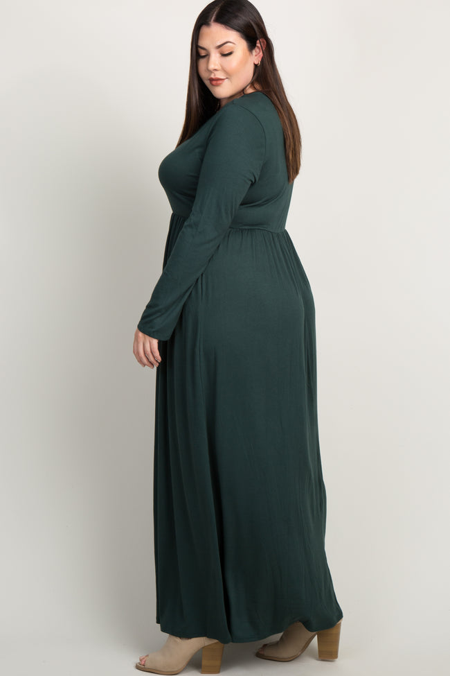 Forest Green Pleated Long Sleeve Plus Maxi Dress