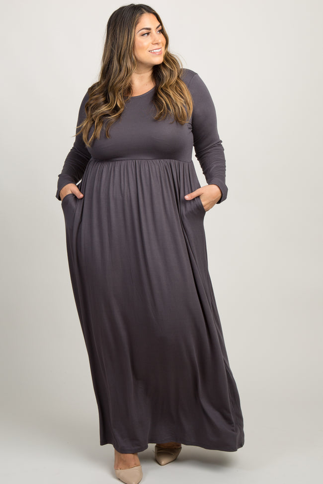 Charcoal Grey Pleated Long Sleeve Plus Maternity Maxi Dress