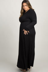 Black Pleated Long Sleeve Plus Maxi Dress
