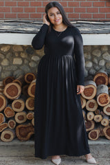 Black Pleated Long Sleeve Plus Maternity Maxi Dress