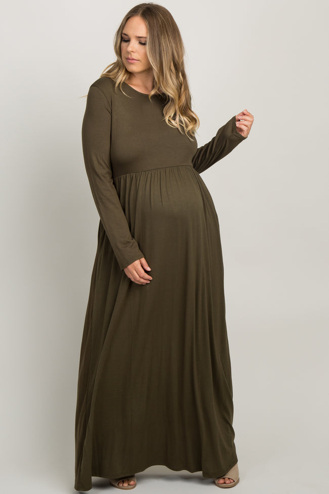 Olive Pleated Long Sleeve Plus Maternity Maxi Dress