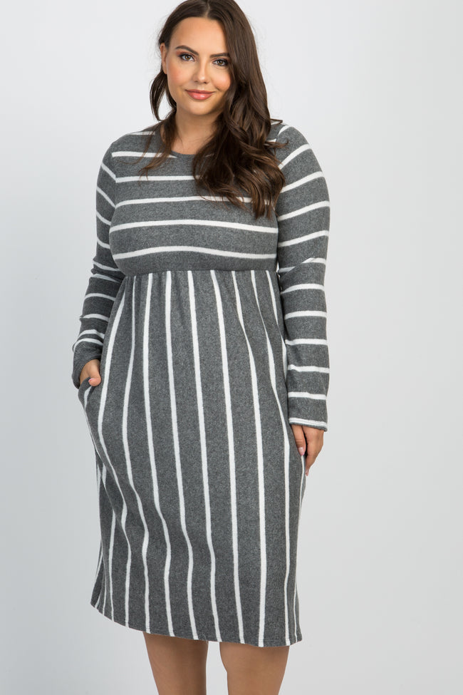 Charcoal Grey Striped Long Sleeve Plus Midi Dress