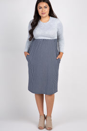 Grey Colorblock Striped Skirt Plus Dress