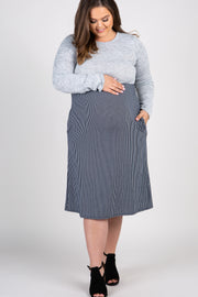 Grey Colorblock Striped Skirt Plus Maternity Dress