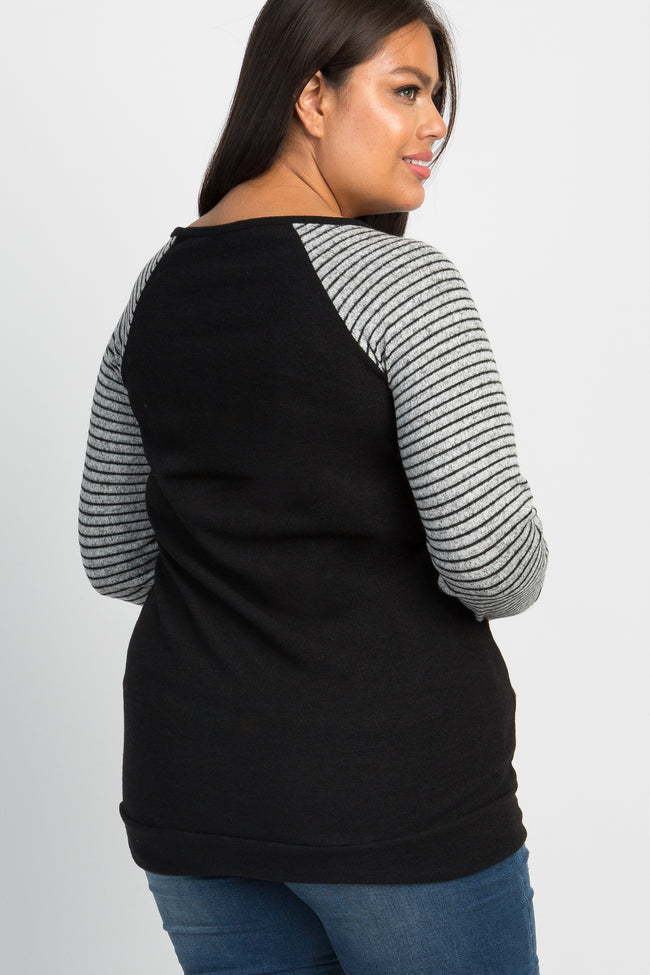 Black Striped Sleeves Plus Sweater