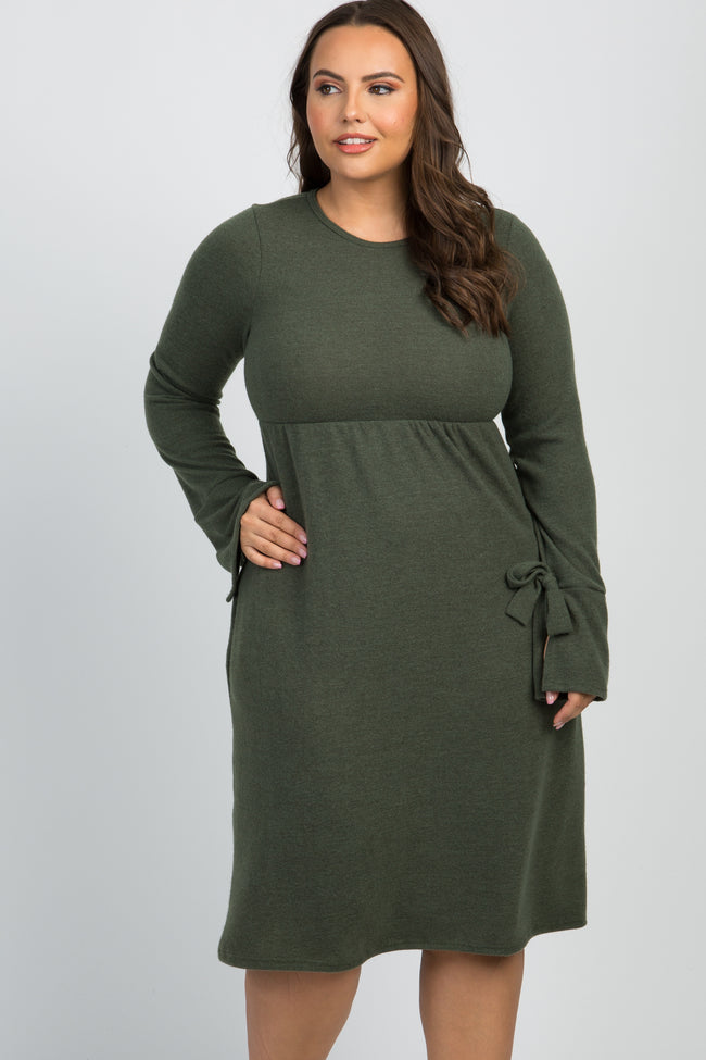 Olive Solid Bell Sleeve Tie Plus Dress