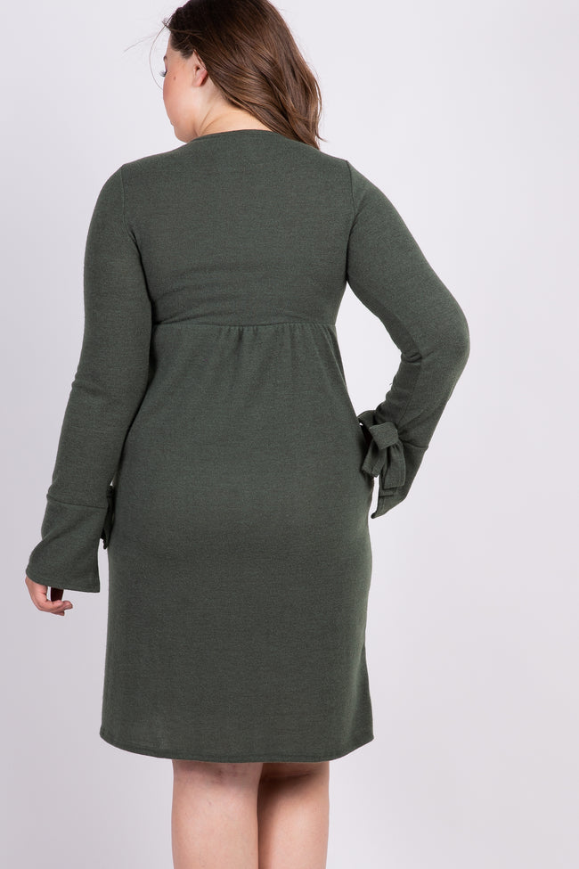 Olive Solid Bell Sleeve Tie Plus Maternity Dress