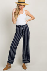 Navy Blue Striped Waist Tie Wide Leg Maternity Pants