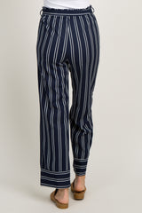 Navy Blue Striped Waist Tie Wide Leg Pants