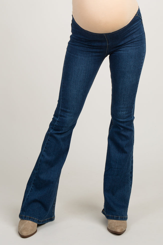 Navy Blue Stretch Insert Maternity Flare Jeans