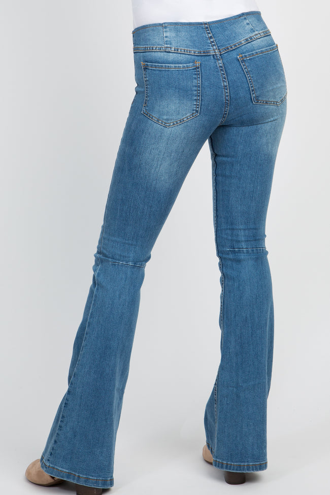 Blue Stretch Insert Flare Jeans
