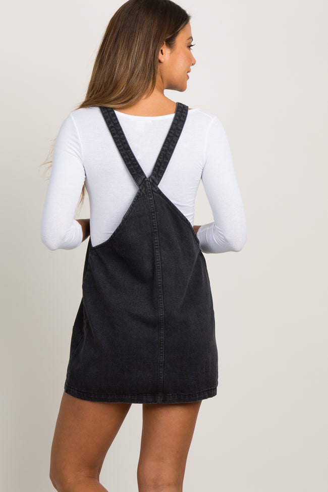 Black Faded Denim Button Down Overall Dress