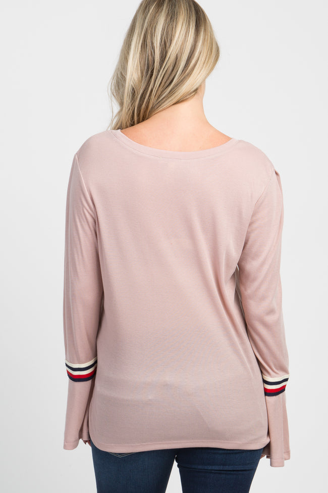Mauve Striped Trim Long Sleeved Maternity Top