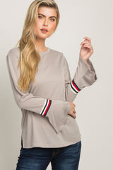 Taupe Striped Trim Long Sleeve Maternity Top