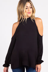 Black Mock Neck Cutout Ruffle Sleeve Maternity Top