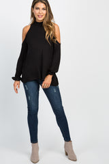 Black Mock Neck Cutout Ruffle Sleeve Top