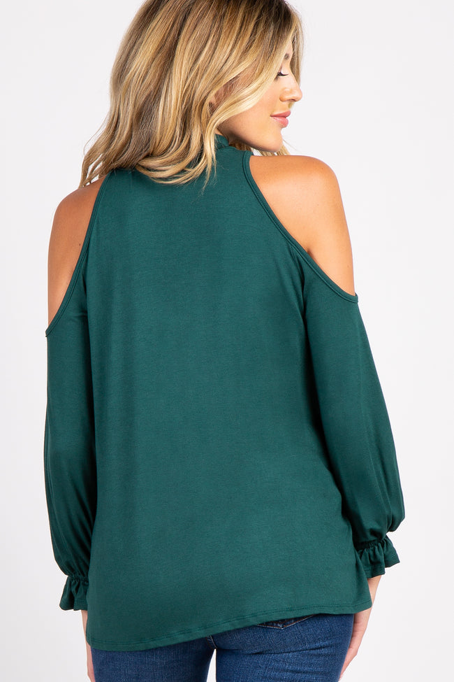 Forest Green Mock Neck Cutout Ruffle Sleeve Maternity Top