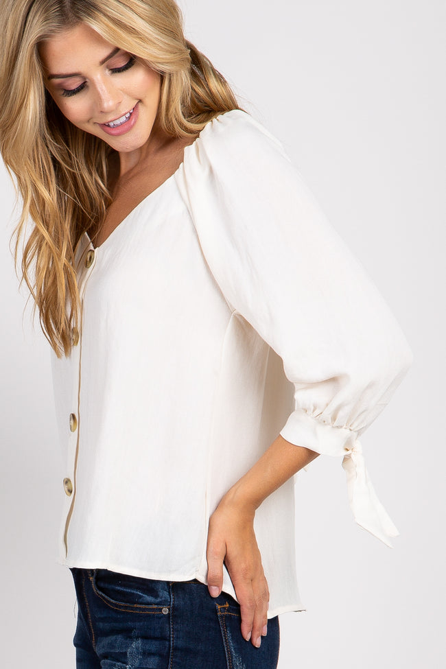 Ivory Button Linen Tie Sleeve Top