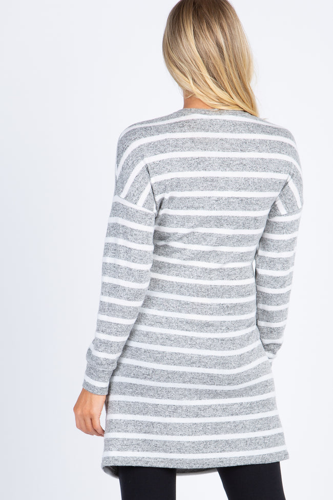 Heather Grey Striped Long Sleeve Tie Front Maternity Top