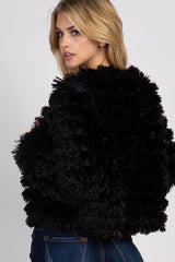 Black Furry Fringe Maternity Jacket