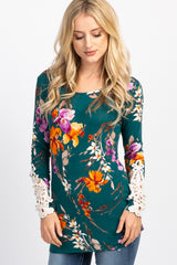 Forest Green Floral Crochet Sleeve Fitted Top
