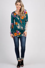 Forest Green Floral Crochet Sleeve Fitted Maternity Top