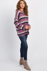 Purple Striped Pullover Sweater