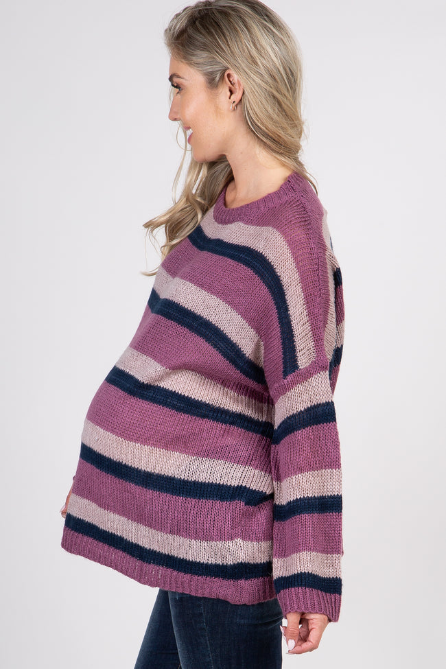 Purple Striped Maternity Pullover Sweater